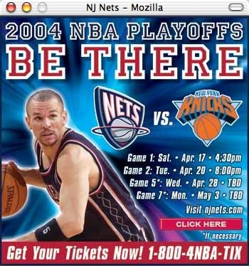 New Jersey Nets popup ad: 'NBA 2004 Playoffs. Be there!'