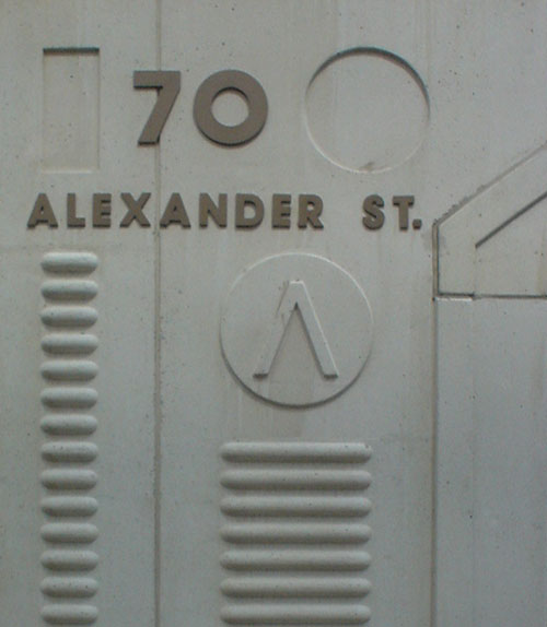 70 Alexander St. cornerstone, with raised letters and columns of raised lines