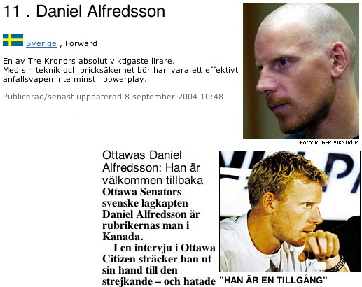 Screenshots show text in Swedish alongside a left profile of Daniel Alfredsson with completely shaven head and a right profile of Alfredsson with short blond curls