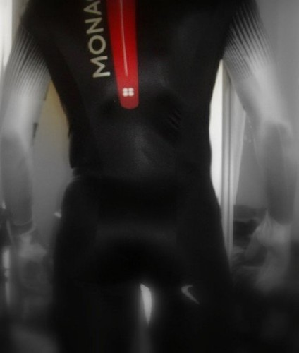Blurred photo of rear of bobsledder in Mona bodysuit