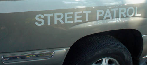 Lettering on flank of vehicle reads STREET PATROL in Arial