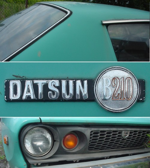 Teal-blue Datsun B210: Angled coupé roofline; nameplate; black honeycomb grille and deeply-recessed headlamp and turn signal