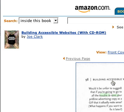 Screenshot of Amazon's image of corner book page