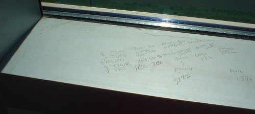Metal windowsill covered with pencilled-in schedules