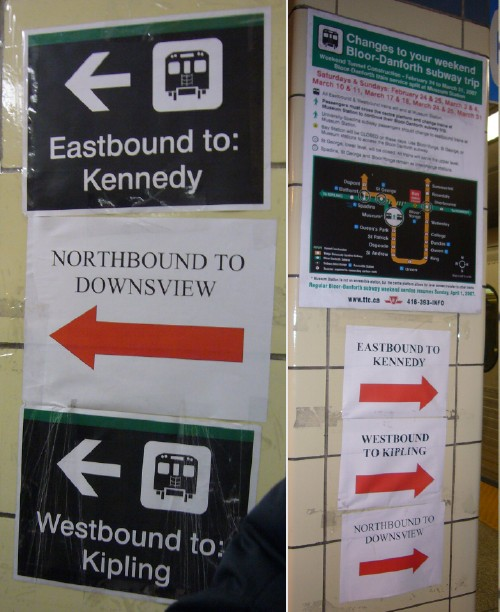 Two photos showing taped-on signage, some laser-printed, some 'designed'