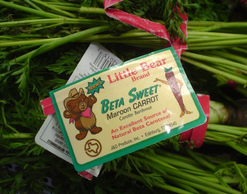 Tag twist-tied to bundles of rich green stalks reads Little Bear Brand BETA SWEET Maroon CARROT in Souvenir and other fonts