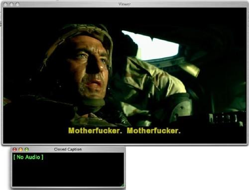 Screenshot shows English subtitle reading Motherfucker. Motherfucker and separate Closed Caption window reading [No Audio]