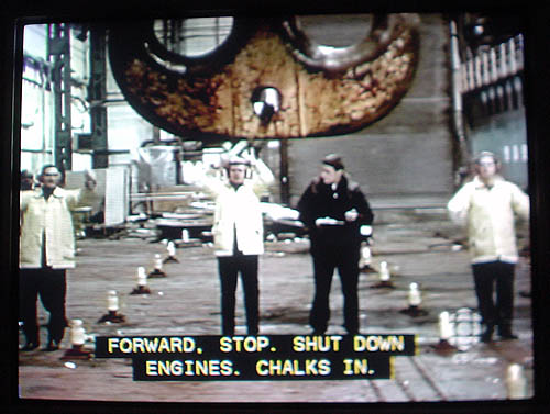 Caption: FORWARD. STOP. SHUT DOWN ENGINES. CHALKS IN