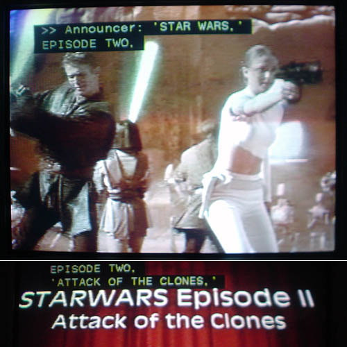 Captions read 'STAR WARS', EPISODE TWO, 'ATTACK OF THE CLONES'