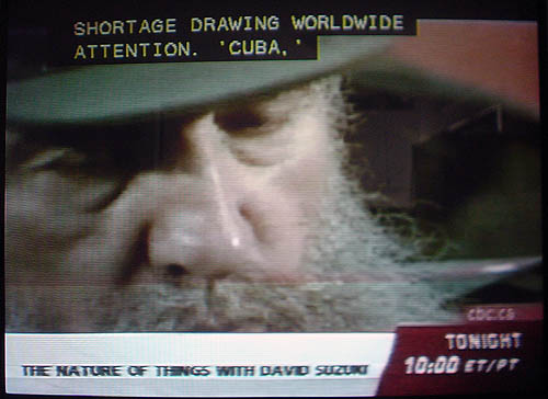 Screenshot shows Fidel Castro and a two-line caption ending with the word 'CUBA'