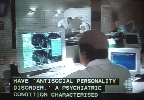 Screenshot shows caption including 'ANTISOCIAL PERSONALITY DISORDER' and CHARACTERISED