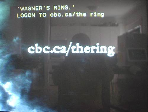 Screenshot shows movie logo and caption: 'WAGNER'S RING.' LOGON TO cbc.ca/the ring