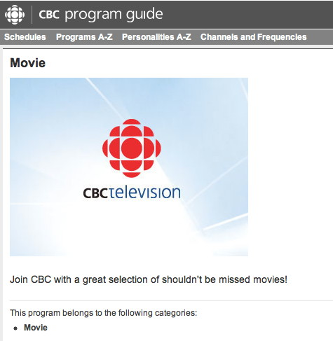 Screen shows headline Movie, CBC logo, and Join CBC with a great selection of shouldn't be missed movies!