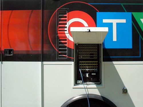 Flap opens out of side of CTV van to reveal a switchboard from which a single blue cable trails