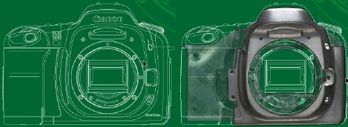 Two cutaway diagrams of the Canon EOS-1D