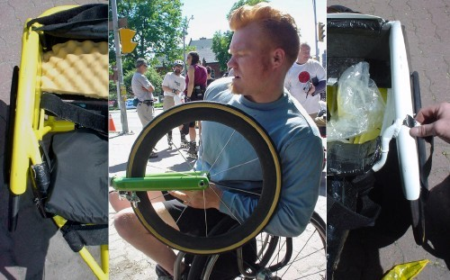 Red-haired Jeff fiddles with his lime-green wheelchair fork. Left and right halves of two other wheelchair seats surround the photo