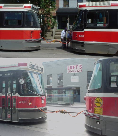 Two photos show streetcars attached by a single metal rod