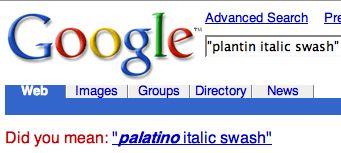Google spelling correction asking 'Did you mean: palatino italic swash'