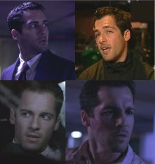 Four screenshots of Alex Dimitriades (three in suits, one in a pullover with corded collar)