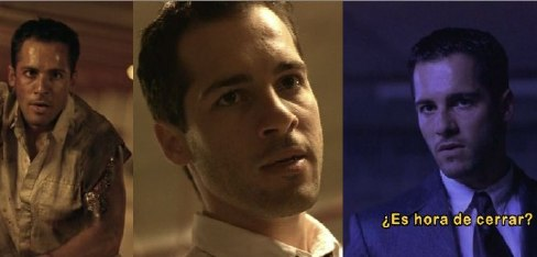 Trio of screenshots of Alex Dimitriades (filthy and bloody on motorcycle, in close-up, in suit with subtitle reading «¿Es hora de cerrar?»)
