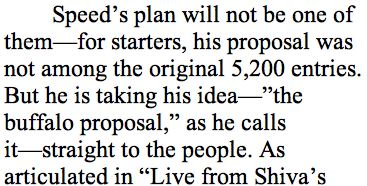 """'But he is taking his idea—""""the buffalo proposal,"""" he calls it—'"""