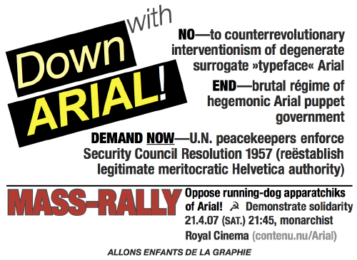 Down with Arial! handbill