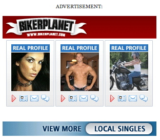 BikerPlanet ad: Close-up of woman, shirtless guy, chick on a Harley