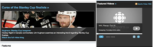 Hockey video player images with blue or white Helvetica on a black background