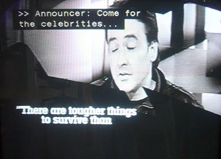 Screenshot of promo showing John Cusack