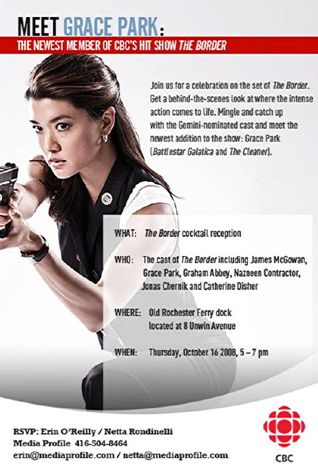 Cocktail-reception invitation with address, date, and Grace Park holding a pistol