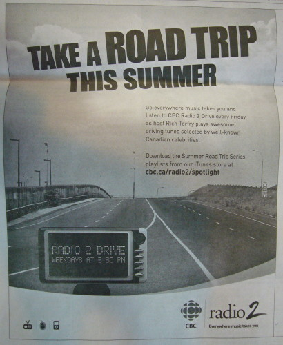 Newspaper ad headlined Take a Road Trip This Summer