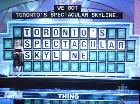 'Wheel of Fortune' clue reading TORONTO'S SPECTACULAR SKYLINE