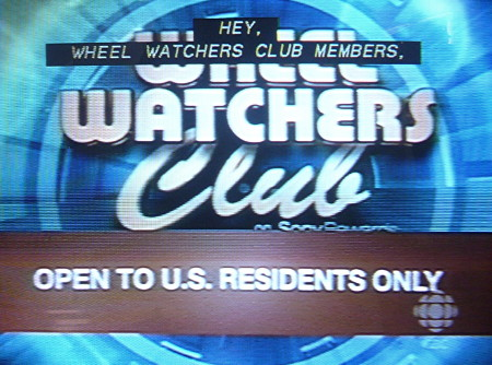 Banner across Wheel Watchers screen reads OPEN TO U.S. RESIDENTS ONLY