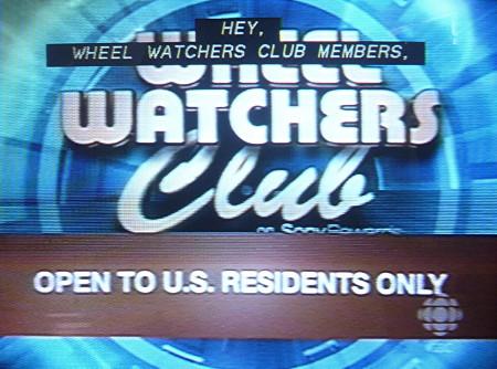 Banner across Wheel Watchers screen reads OPEN TO U.S. RESIDENTS ONLY