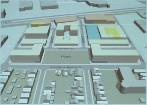 Computer illustration shows large blocks in place of buildings inside Foundry District