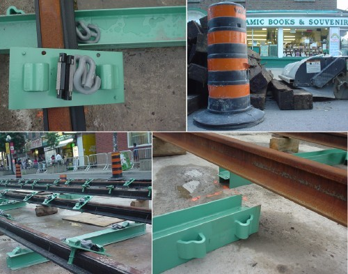 Collage shows torn-up street with rusted newly-installed streetcar tracks and bright-green ties and hardware