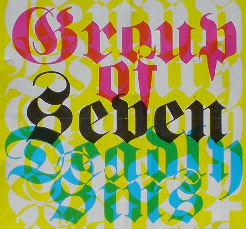 Overlaid white, red, black, and teal blackletter type on a yellow background reads Group of Seven Deadly Sins