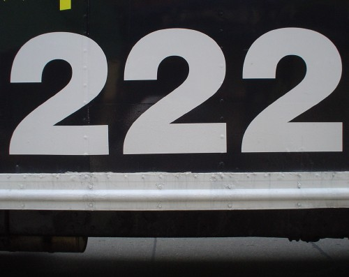 Base of side of truck reads 222 in Helvetica