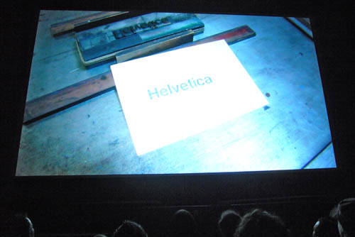 Shot from 'Helvetica' credit sequence: Letterpress-printed sheet reads 'Helvetica'