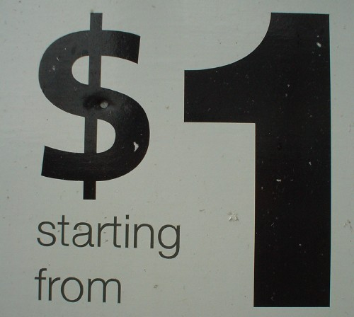 Sign reads 'starting from $1' in Helvetica, save for the dollar sign