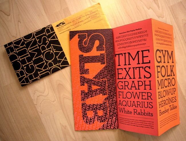 Orange-and-peach folded flyer with type samples; brown envelope with white-on-black typeface sample in corner