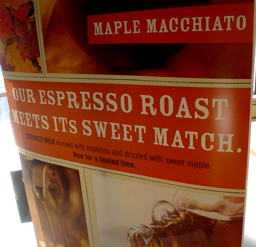 Banner for maple macchiato reads OUR EXPRESSO ROAST MEETS ITs SWEET MATCH