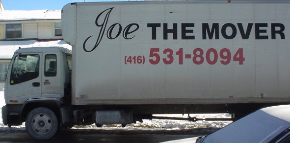 Joe the Mover van (with 'Joe' in script face)