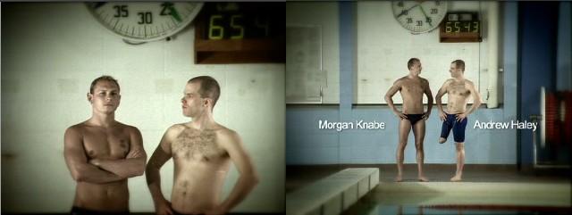 Screenshots show blond, fit, hairless Morgan Knabe and brown-haired, thin, hirsute Andrew Haley standing at poolside