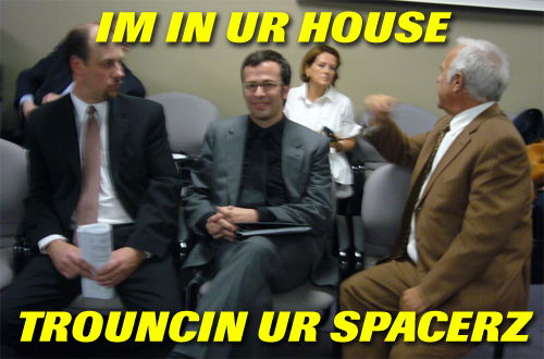 Photo of Jery Kramer and others captioned IM IN UR HOUSE TROUNCIN UR SPACERZ