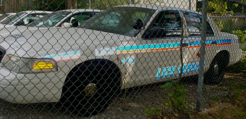 Disused police car's labeling reads LICE SERVICE