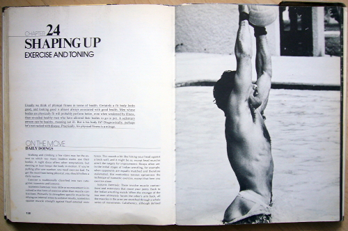 Double-page spread is headlined SHAPING UP: EXERCISE AND TONING and shows a man in a jockstrap standing straight up in a swimming pool holding a water-polo ball