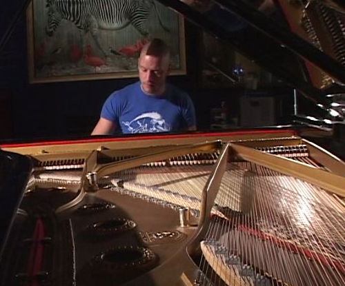 Man in blue T-shirt, with scruffy beard and dark Mohawk haircut, sits at a piano before painting of birds and zebra