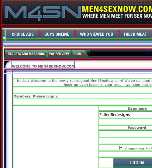 Screenshot shows 'M4SN' page with dozens of overlapping red, green,a nd blue outlines on navbar, content area, and login form