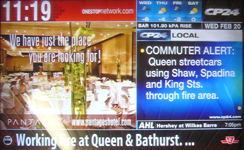 Banner at bottom of busy screen reads Working fire at Queen and Bathurst. ...
